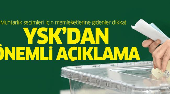 YSK'DAN ÖNEMLİ AÇIKLAMA!
