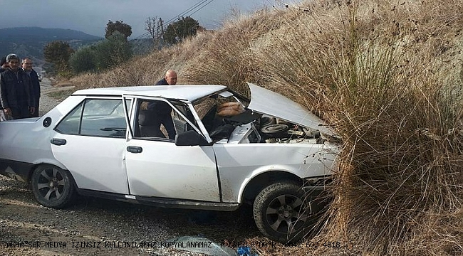 otomobil toprak zemine çarptı: 3 yaralı