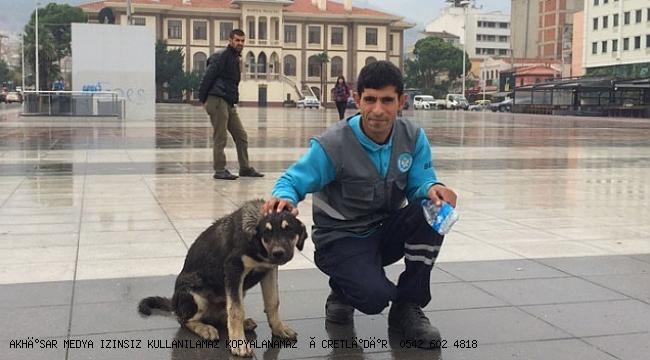 Temizlik işçisi ve sokak köpeğinin içleri ısıtan dostluğu